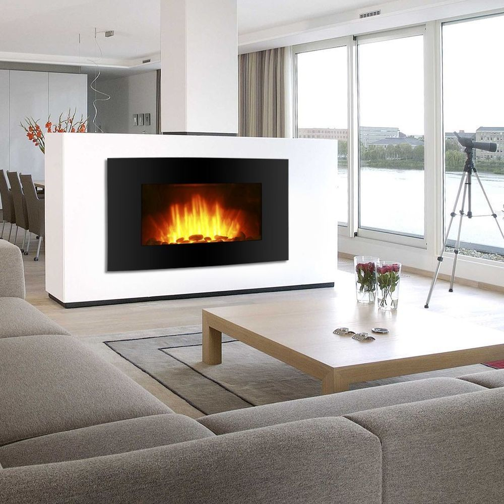 Vertical Fireplace Beautiful Black Electric Fireplace Wall Mount Heater Screen Color