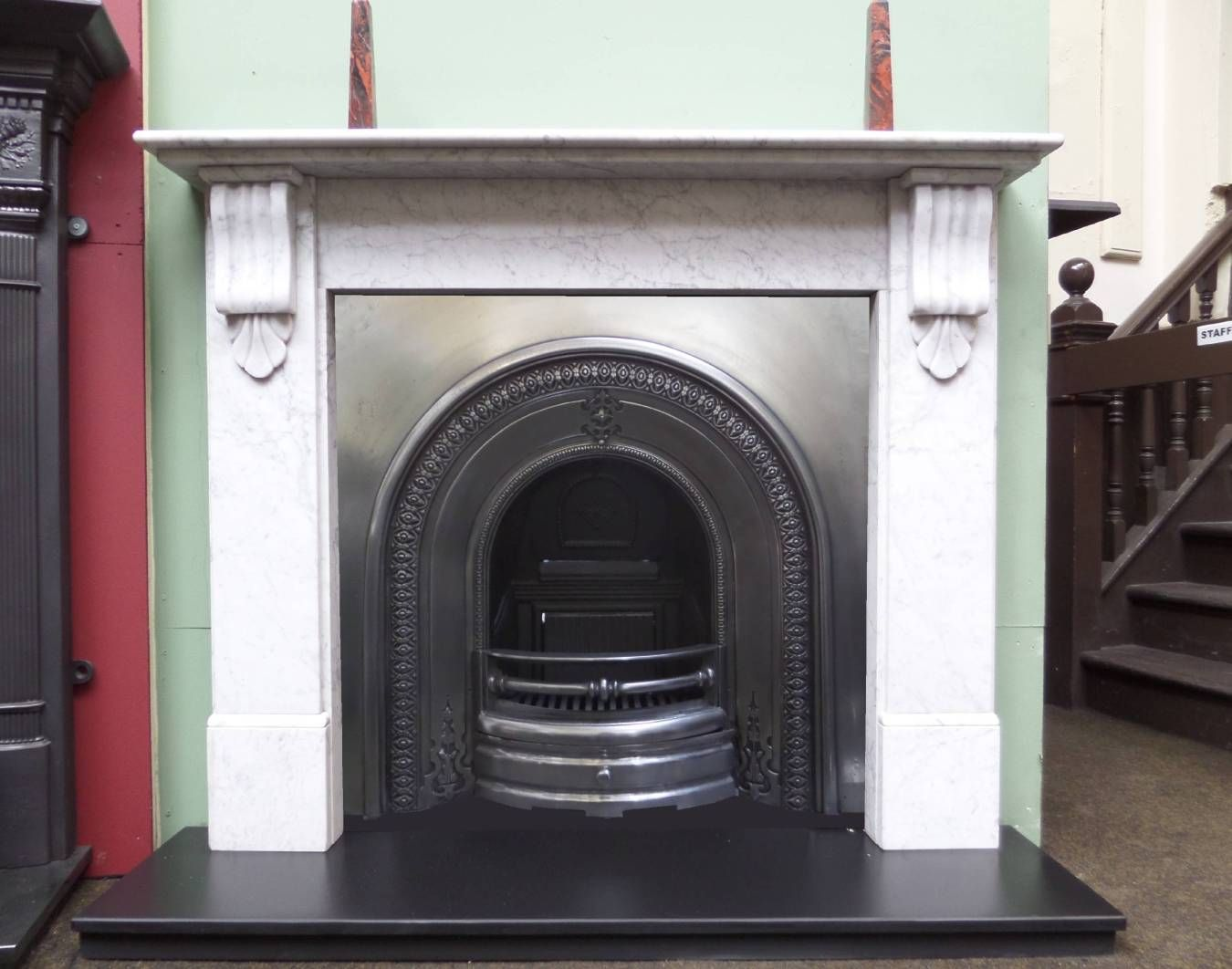 Victorian Fireplace Surround Lovely Antique Victorian Polished Pewter Arched Fireplace Insert