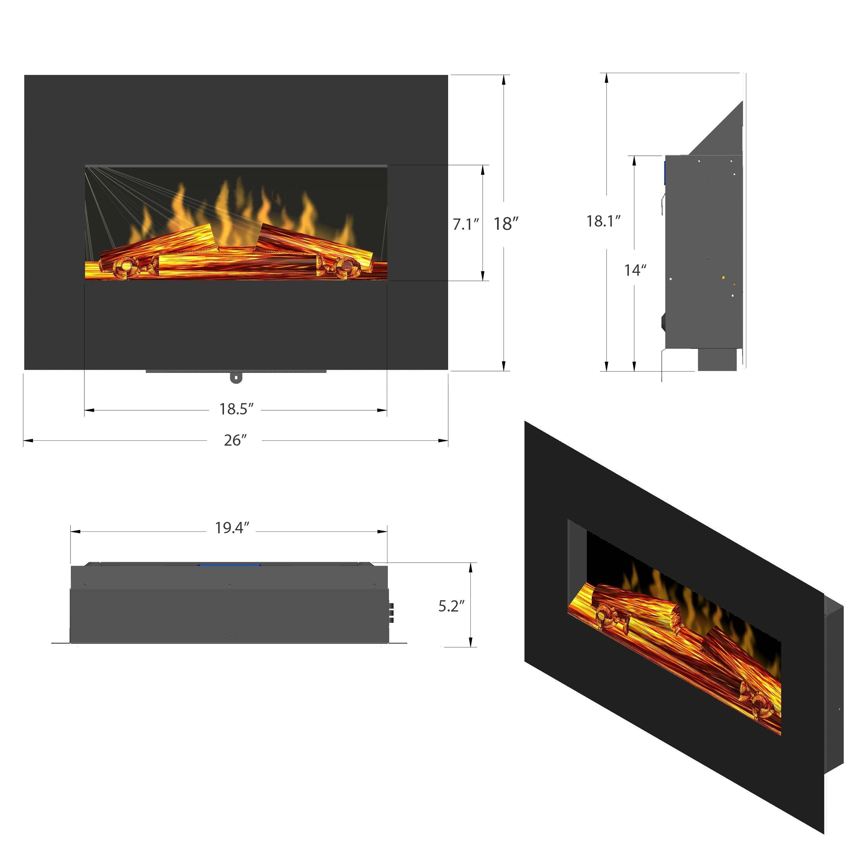 Golden Vantage FP0063 26 Wall Mount Electric Fireplace 3D Flames Firebox w Logs Heater 2b4de1f4 9f69 4e74 a4b5 d02fbdf5f91d