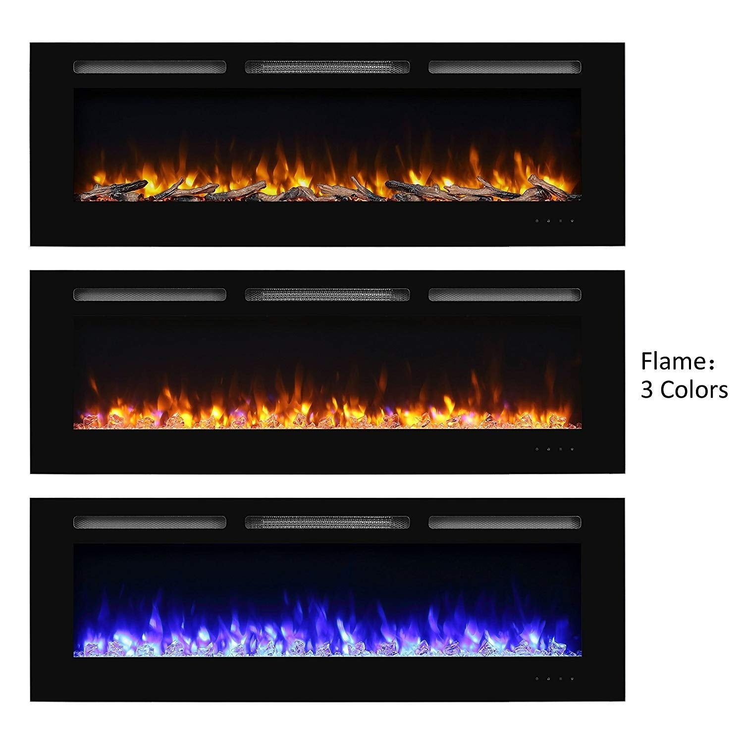60 Alice In Wall Recessed Electric Fireplace 1500W Black df0ee8ee 4a99 494e ad5d e13a43e004a5