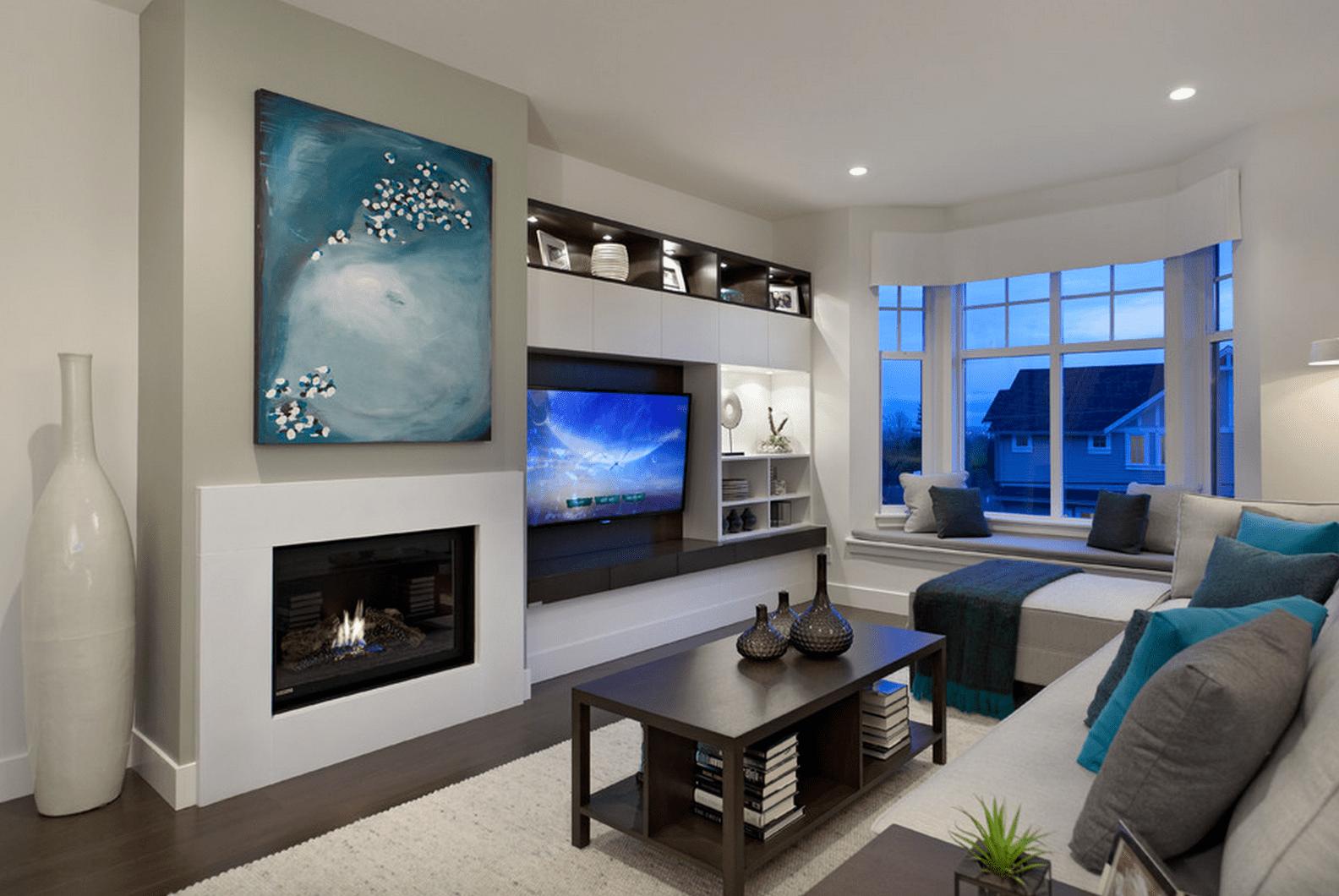 Contemporary living room with custom built ins Portico Design Group a8c5f9b584db3f4bd59