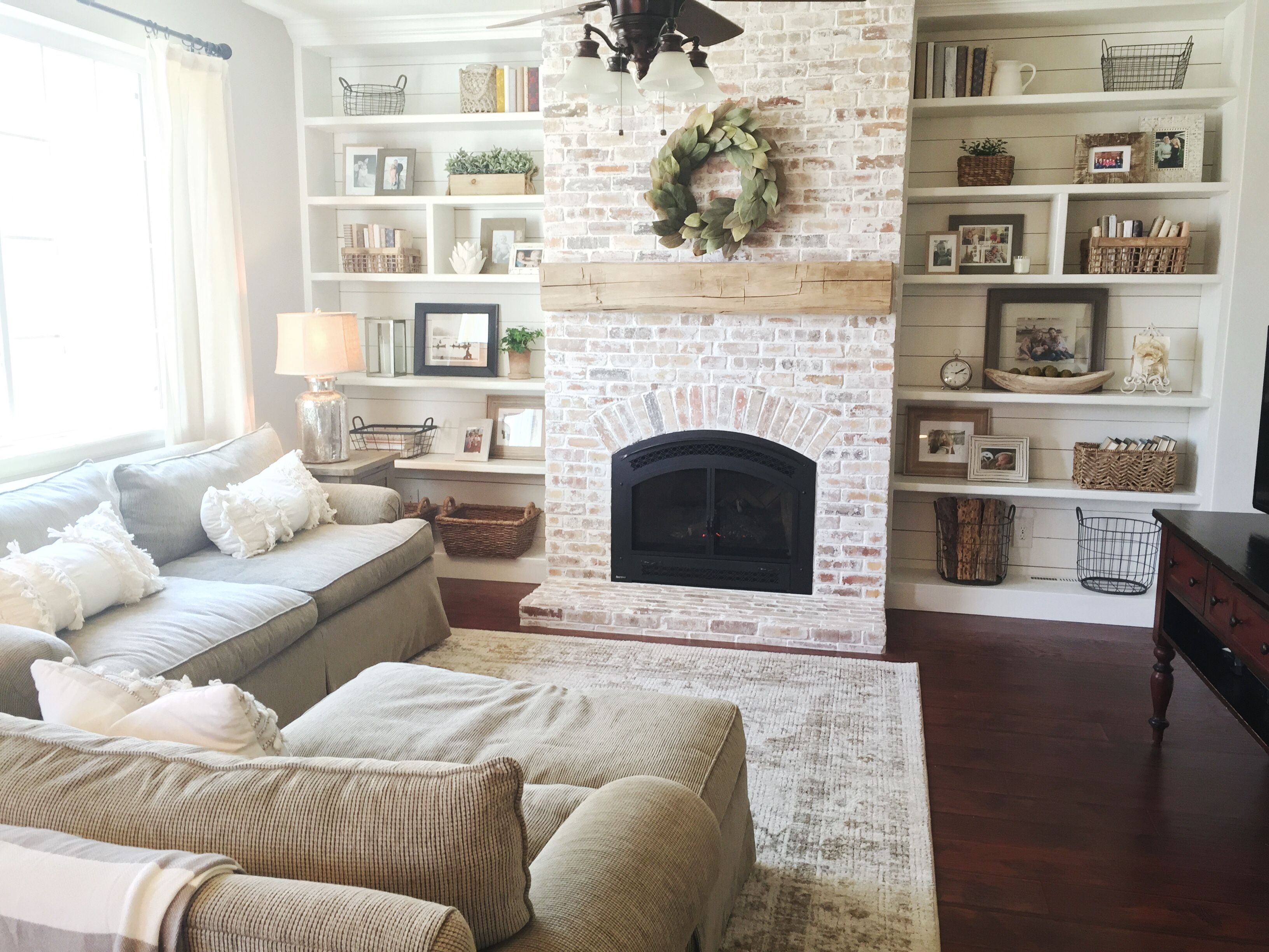What to Put In An Empty Fireplace Awesome Built Ins Shiplap Whitewash Brick Fireplace Bookshelf