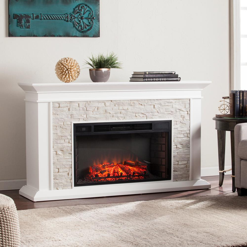 hardwood floors around brick fireplace hearths of rustic electric fireplaces fireplaces the home depot in w faux stacked stone electric fireplace in white