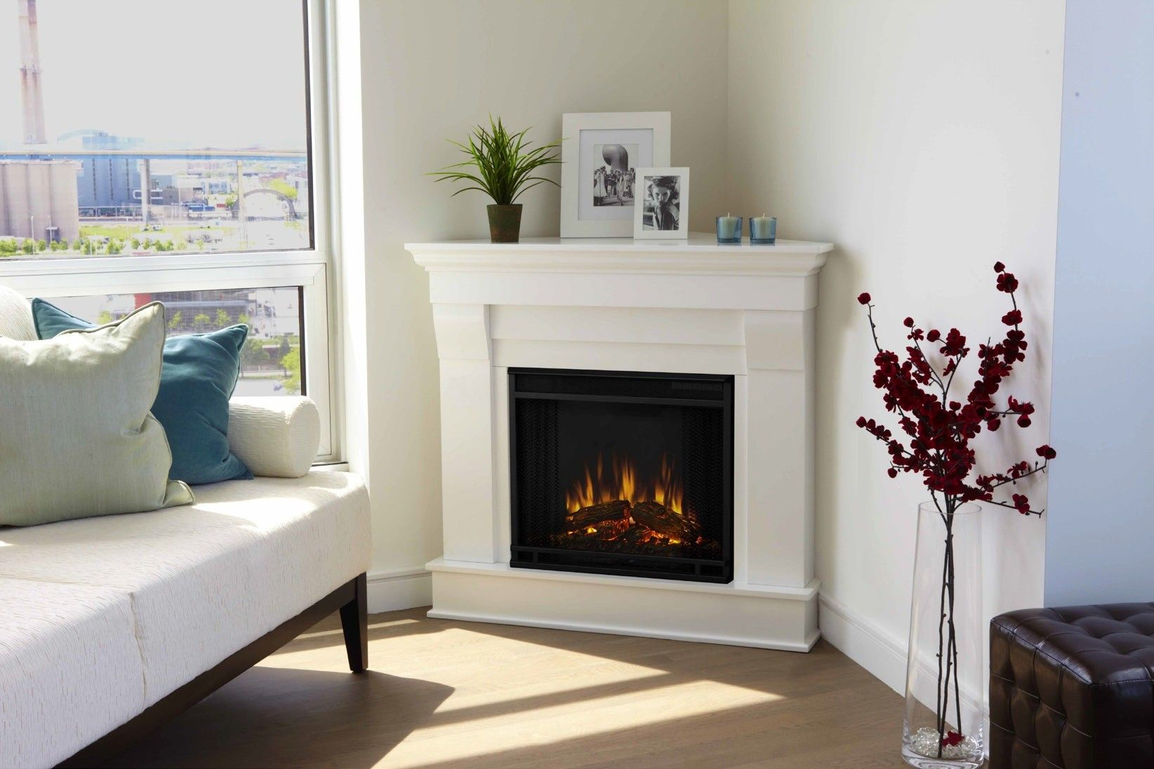 White Corner Fireplace Lovely Best White Real Looking Electric Fireplace