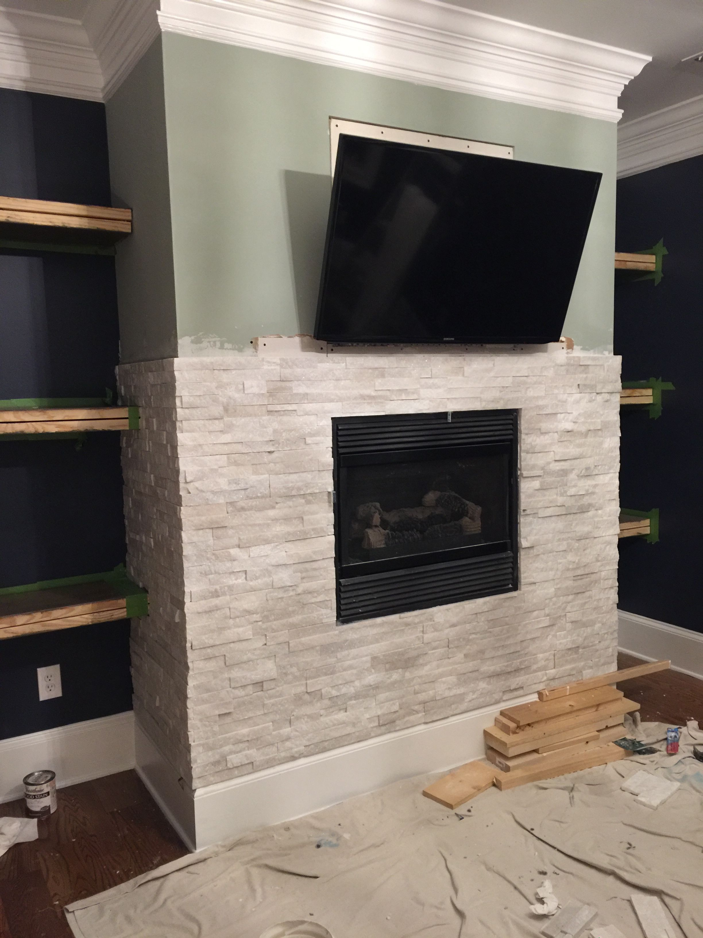 White Stacked Stone Fireplace Fresh Tiling A Stacked Stone Fireplace Surround