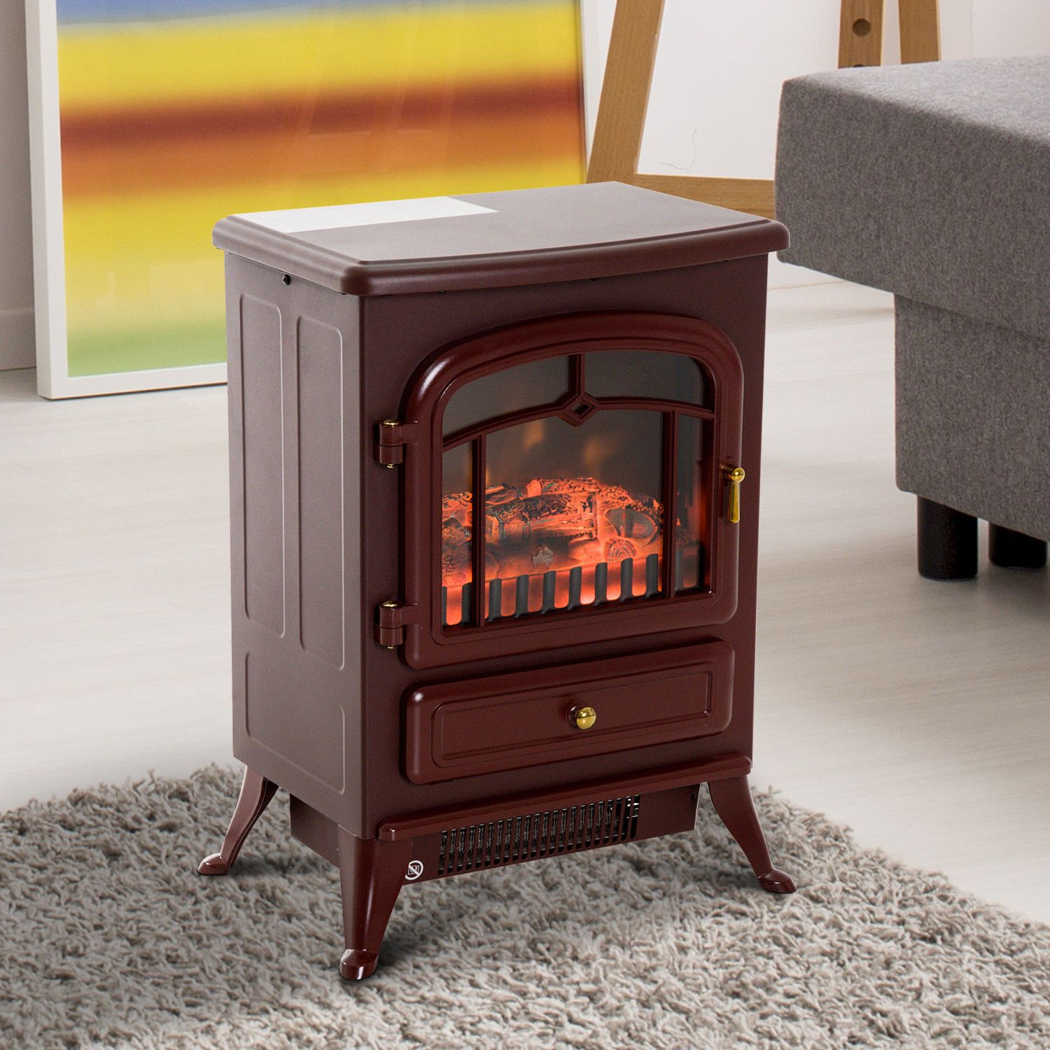 """Wood Fireplace Heater Unique Hom 16"""" 1500 Watt Free Standing Electric Wood Stove"""
