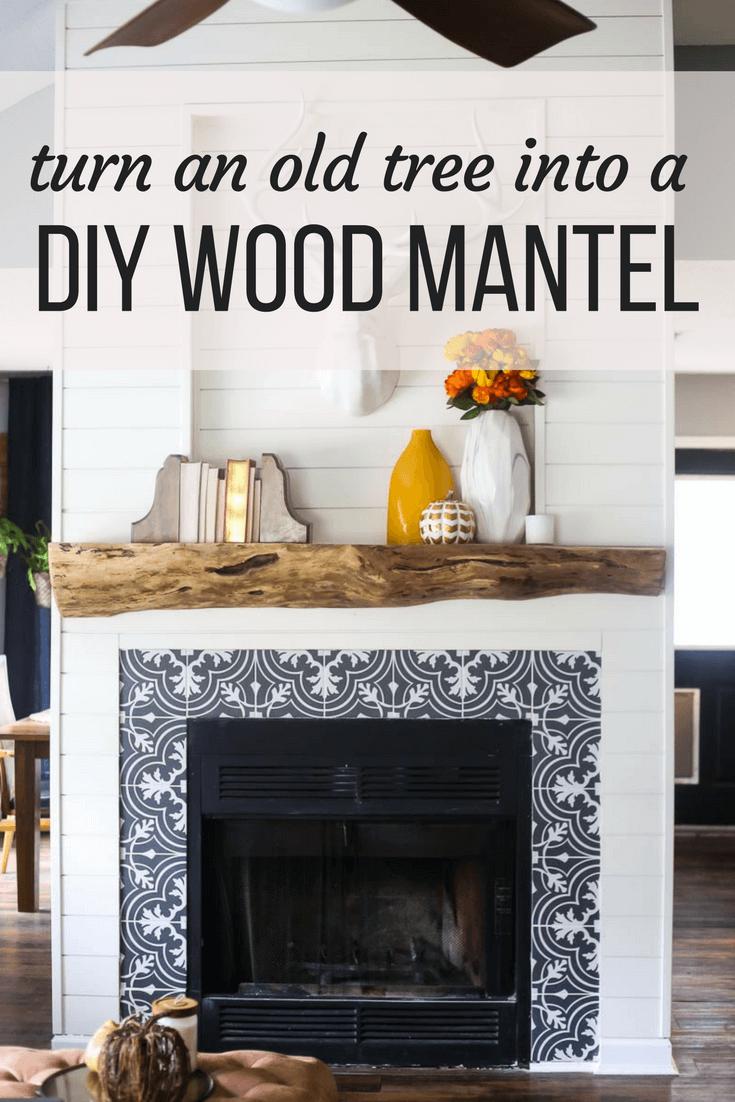 diy wood mantel 1