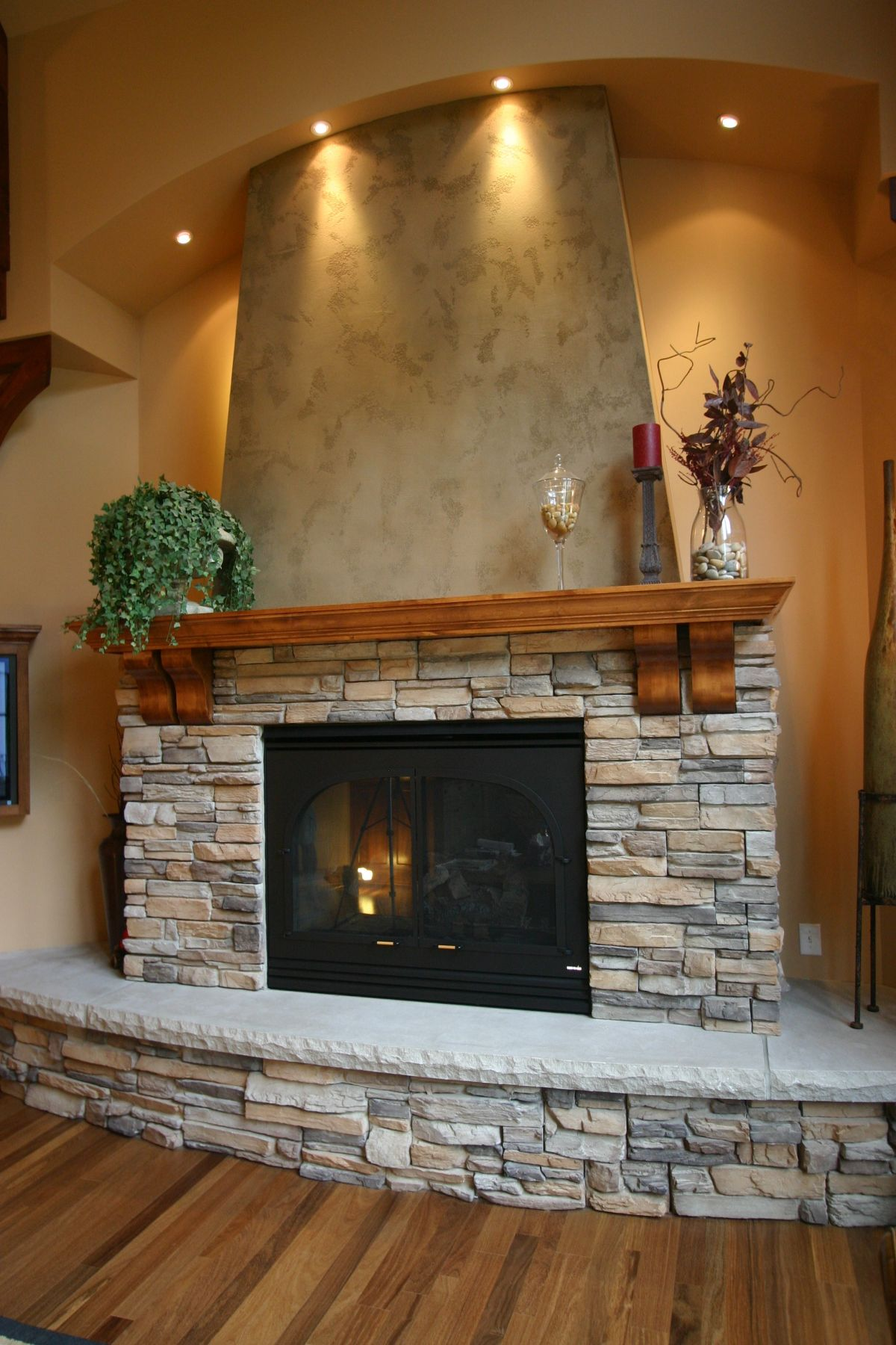 fireplace made from tiny rocks