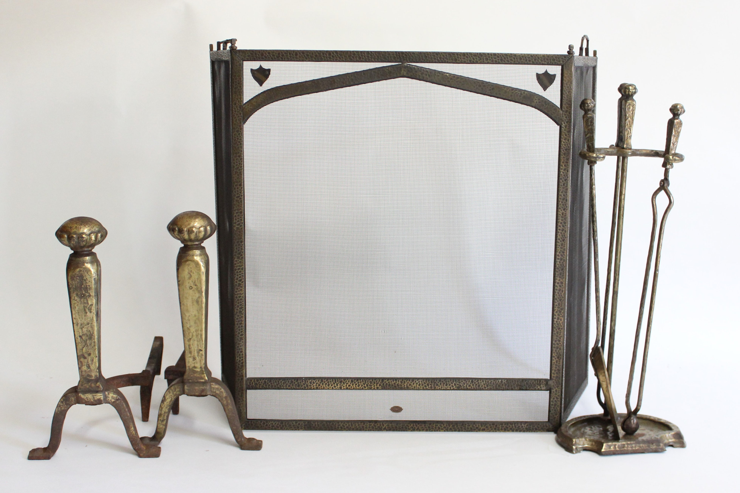 Wrought Iron Fireplace tools Luxury Antique S M Howes Pany Hammered Wrought Iron Fireplace Set andirons Fire Screen and Fireplace tools