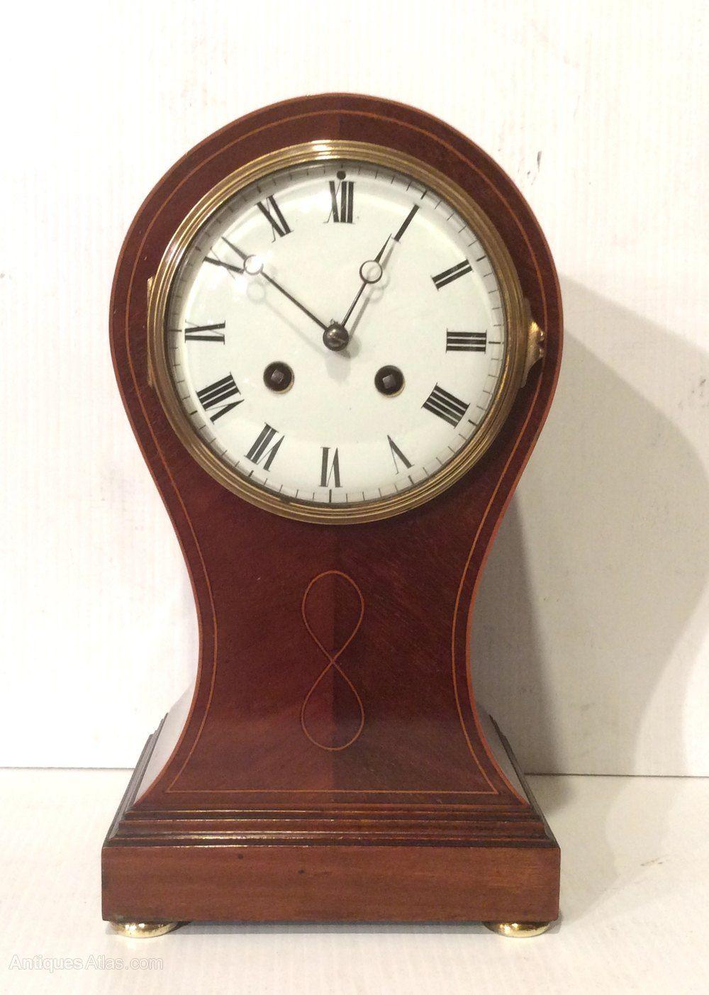 Clocks Over Fireplace Mantel Beautiful Antique Inlaid Mahogany Balloon Shape Mantel Clock In 2020