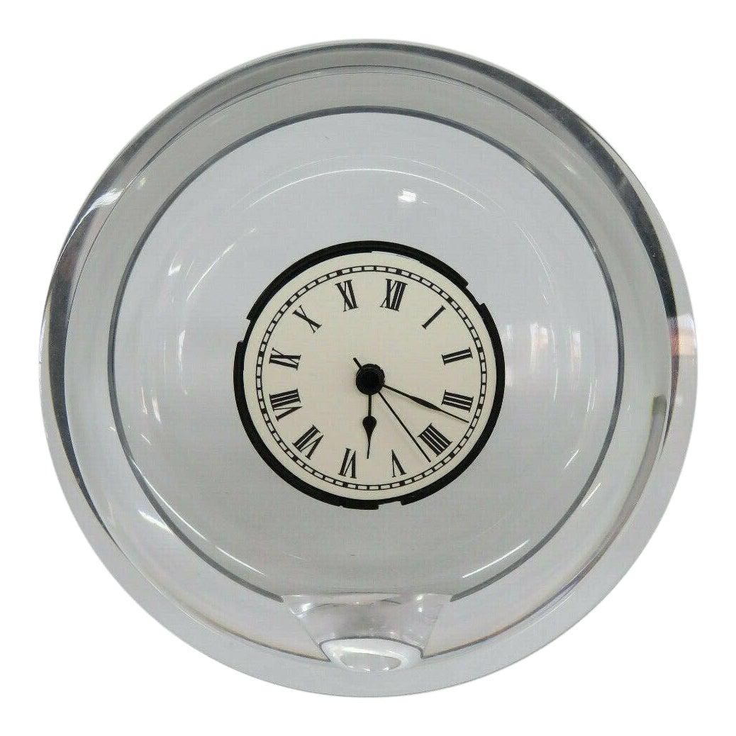 mid century modern style italian lucite round mantel shelf clock 9459