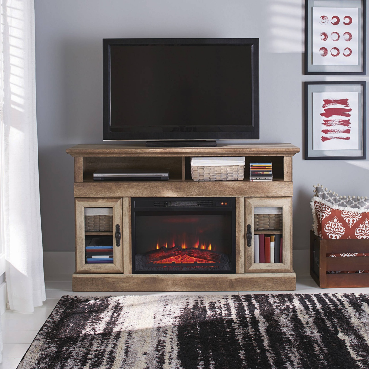 72 inch electric fireplace media console whalen media fireplace console for tvs up to 60quot brown ash from 72 inch electric fireplace media console