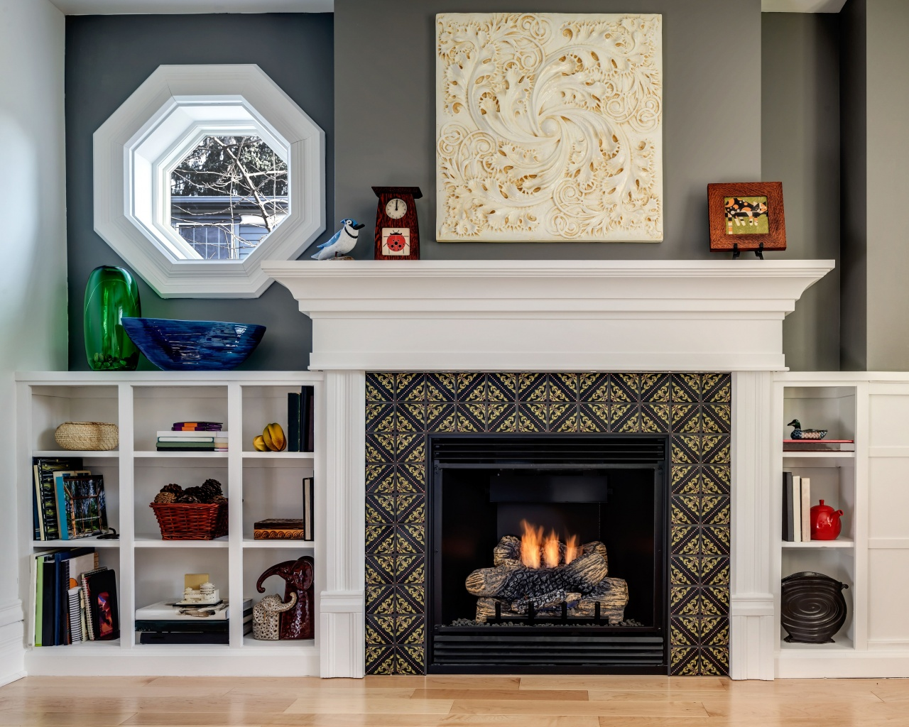 how to refinish a fireplace this small but stylish fireplace features our lisbon tile from how to refinish a fireplace