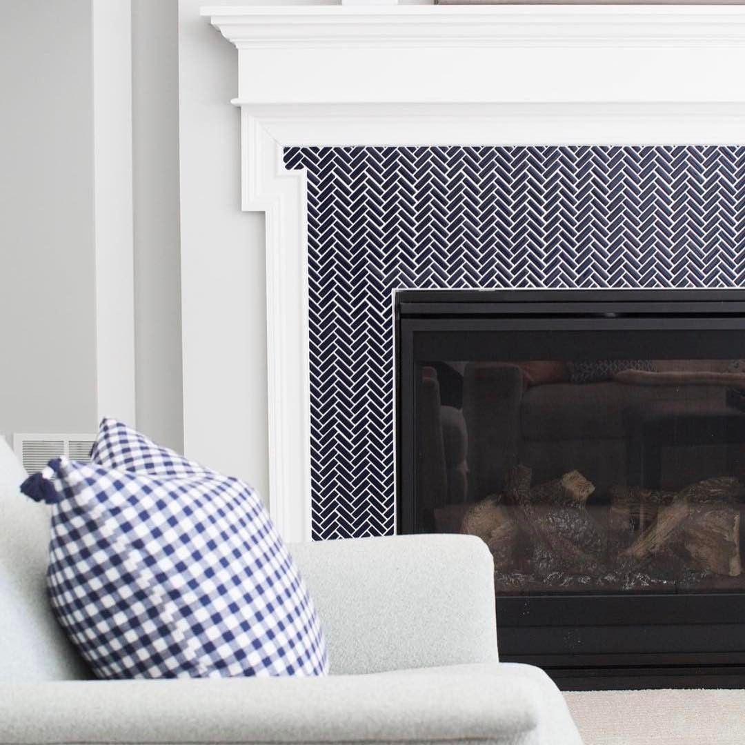 Fireplace with Herringbone Tile Awesome Navy Gingham Pillow