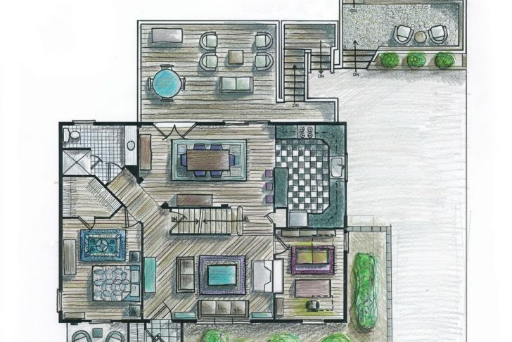 Hand Rendering Awesome First Floor Plan Hand Rendered