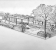 Hand Rendering Unique Contemporary Roof Terrace United Kingdom Hand Drawn