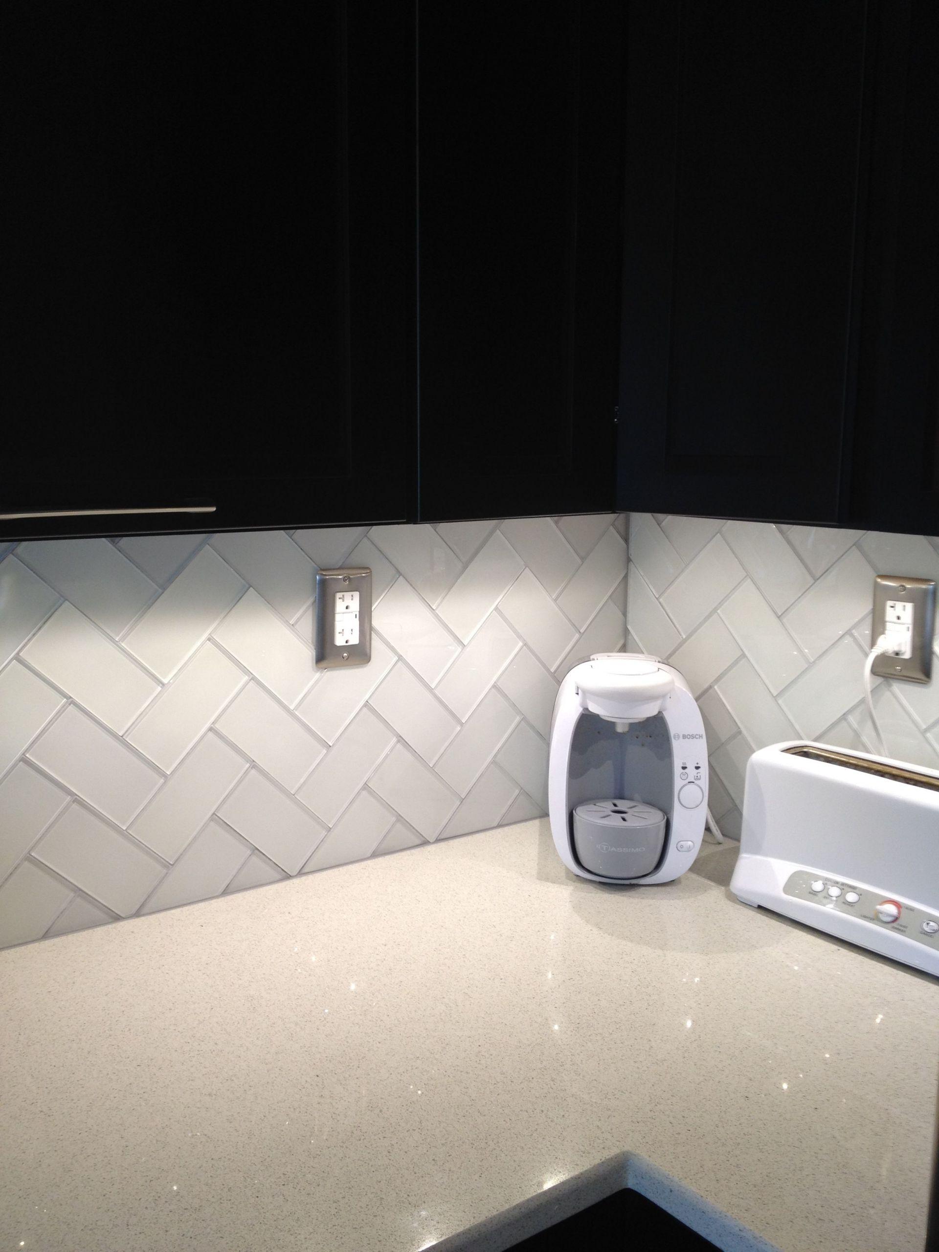 Herringbone Subway Tile Kitchen Backsplash Best Of Herringbone Pattern White Glass Subway Tile Added Delorean