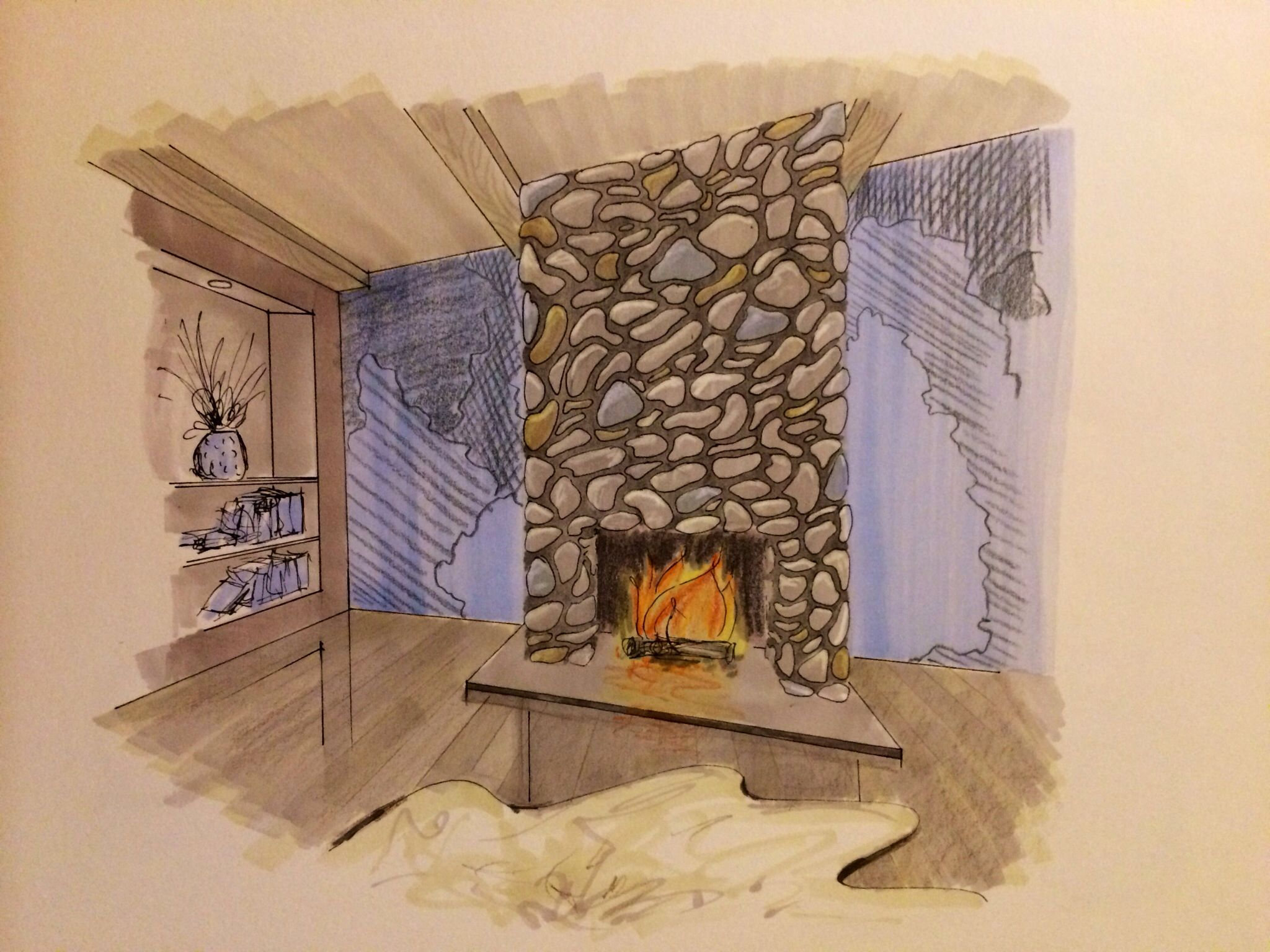 Rendering Fireplace Beautiful Interior Design Hand Rendering Markers Colored Pencils