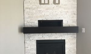 92 Luxury Stone Fireplace with Wood Mantel
