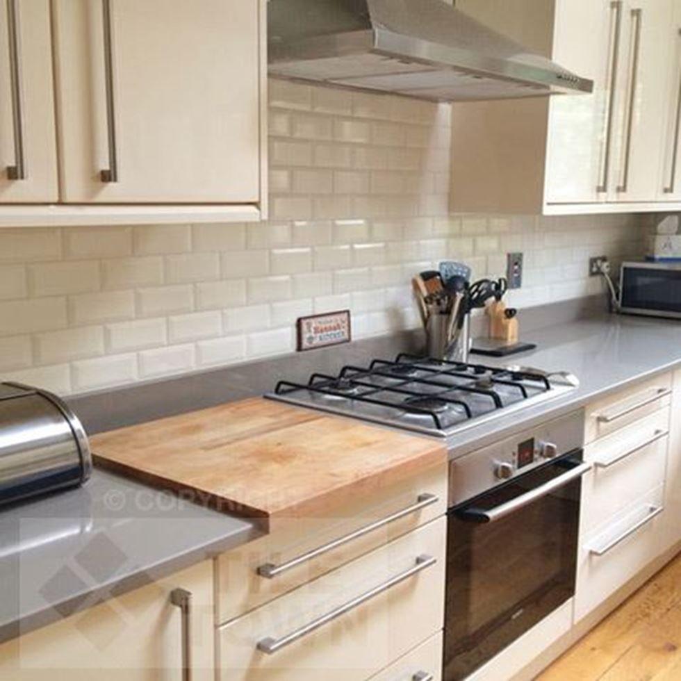 White Brick Backsplash Kitchen Lovely Metro Bone In 2020