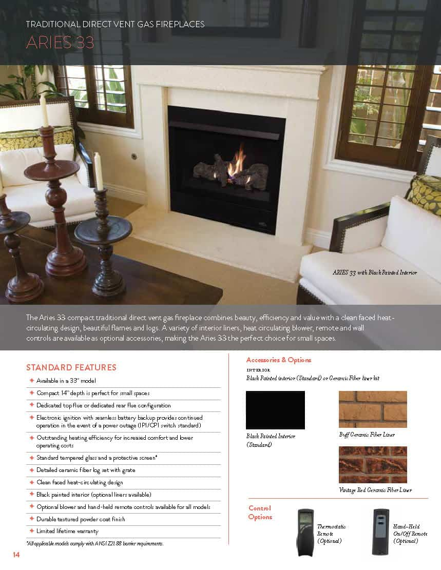 Astria Fireplace Unique Aries 33 Pact Traditional Direct Vent Gas Fireplace