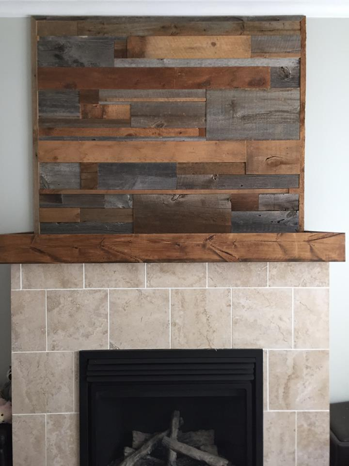 Barnwood 2 toned scattered pattern fireplace mantle 1