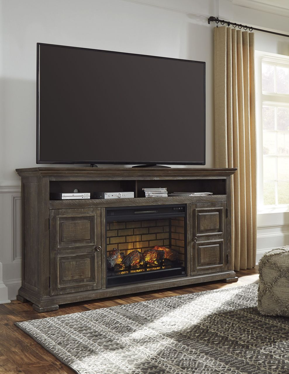 Electric Fireplace with Bookcase Awesome ashley Wyndahl Rustic Brown 72 Tv Stand with Electric Fireplace