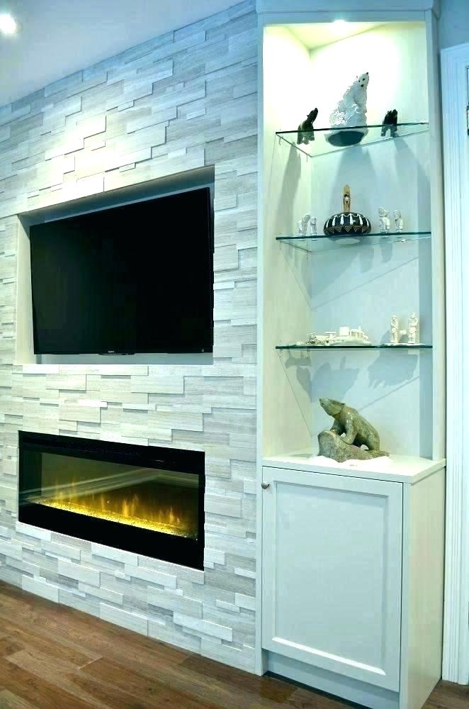 entertainment center with fireplace and bookshelves electric