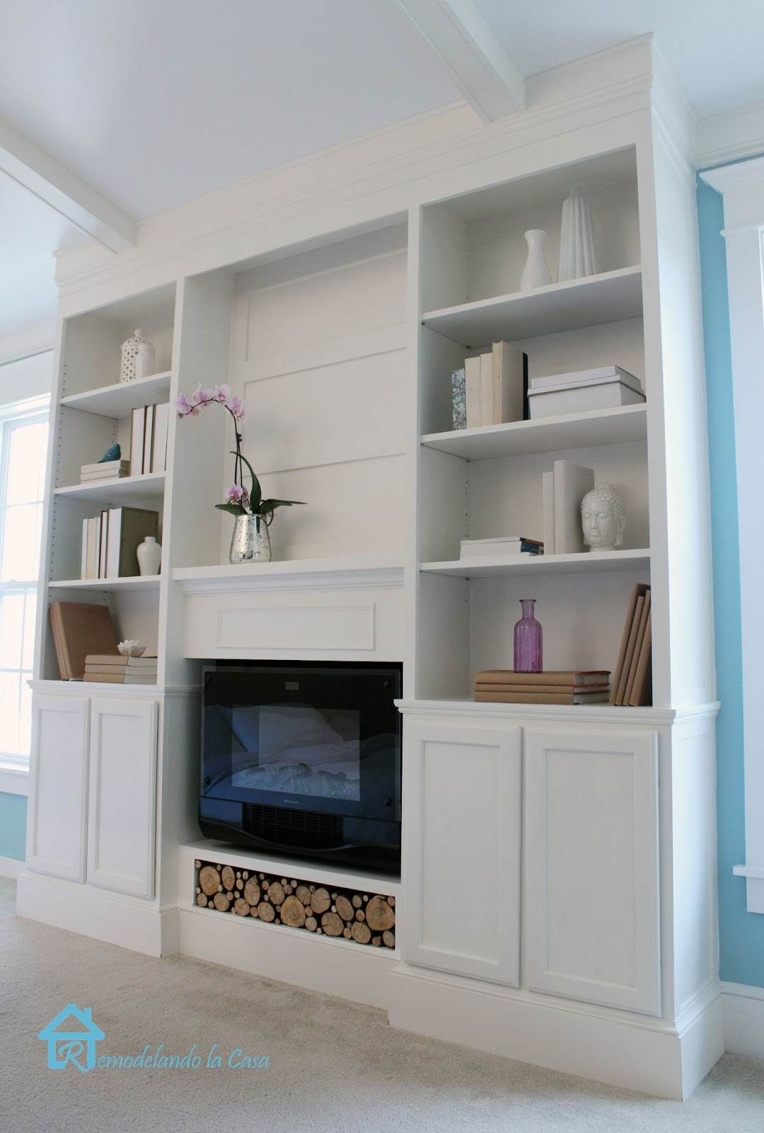 DIY Bookcases with fireplace1