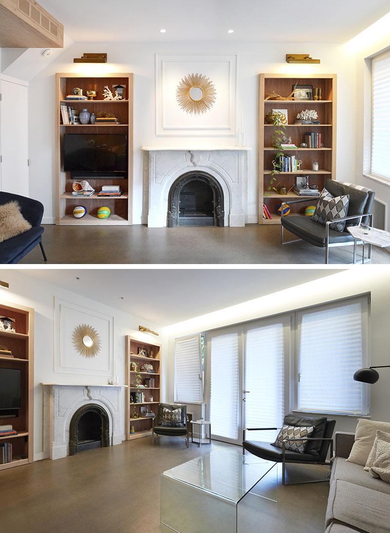 built in wood bookshelves around fireplace 158 06