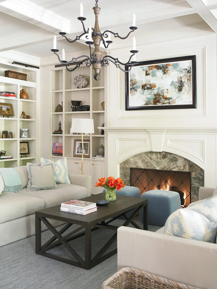 Splendid fireplace cabinets Traditional Living Room in Atlanta with beige mantel and built in bookcase