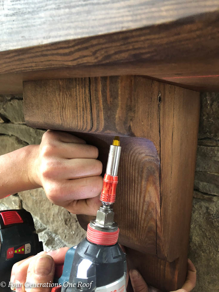 How to install a wooden beam mantel 9