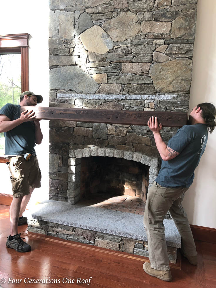 How to install a wooden beam mantel 4
