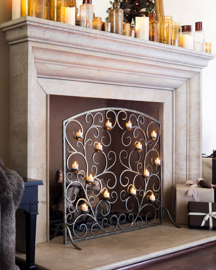 decorative fireplace screen candles 1