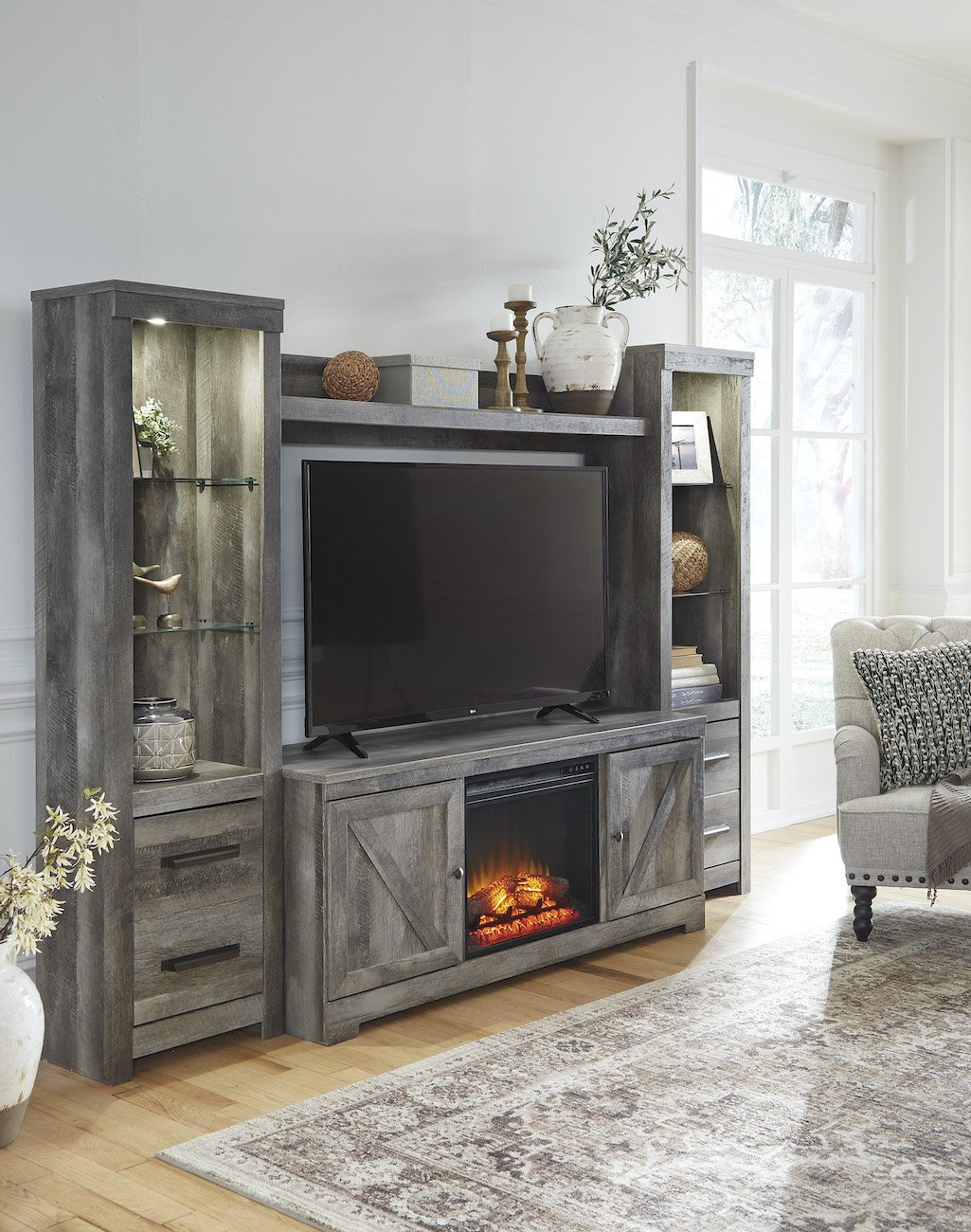 wynnlow 4 pice entertainment center with fireplace