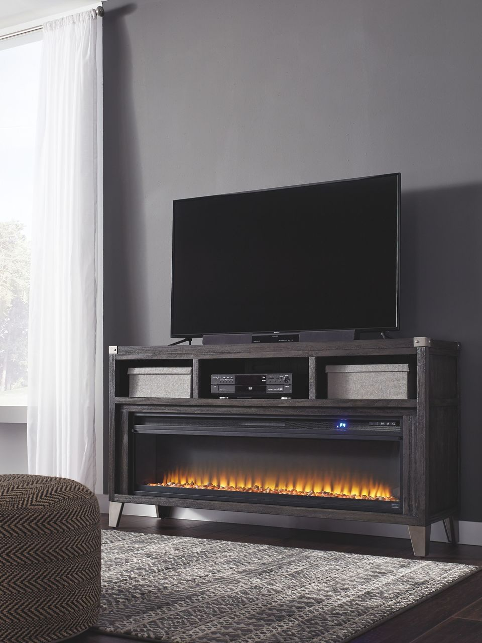 ashley todoe gray 65 tv stand with electric fireplace