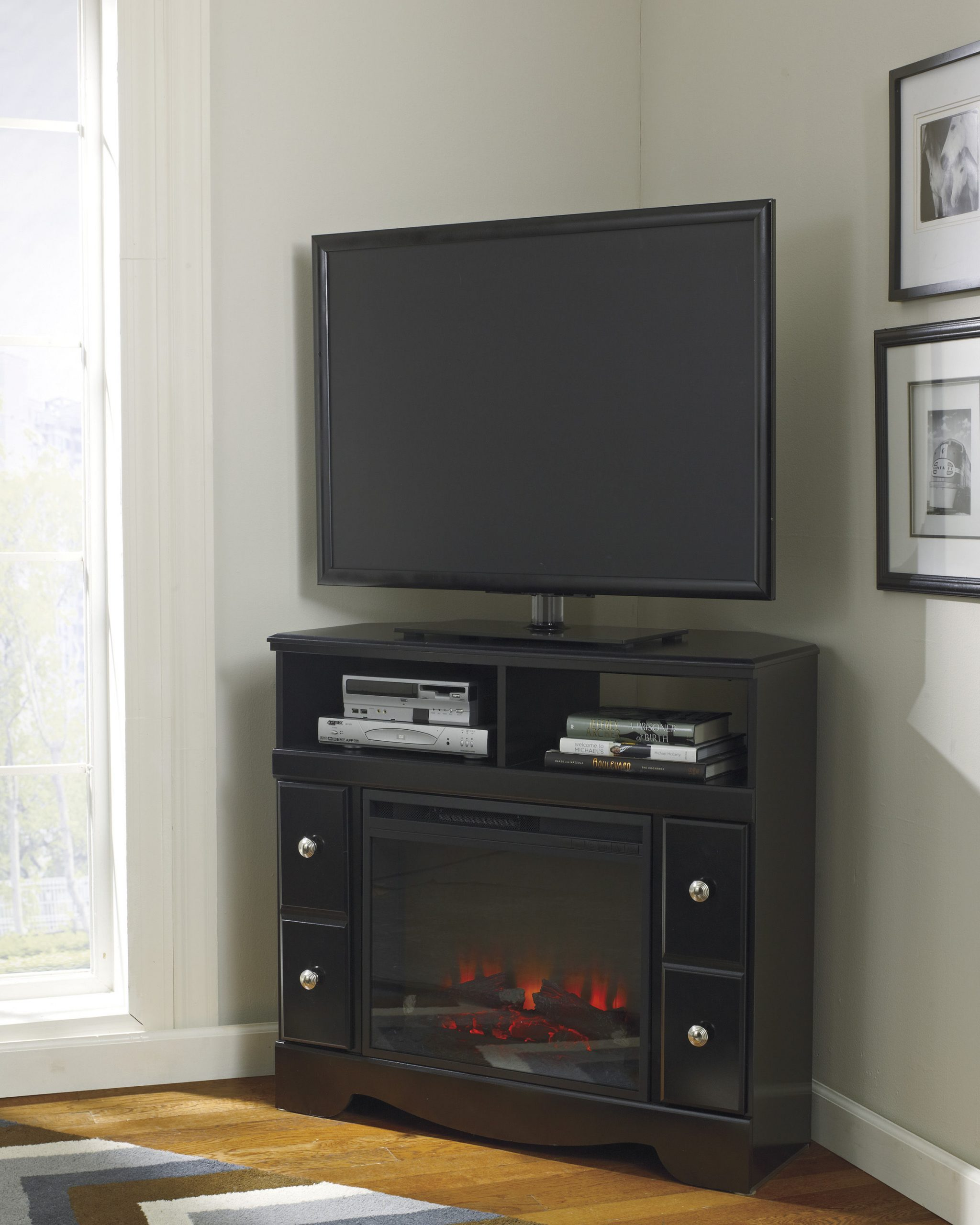 Ashley Furniture Shay Corner TV Stand with Fireplace