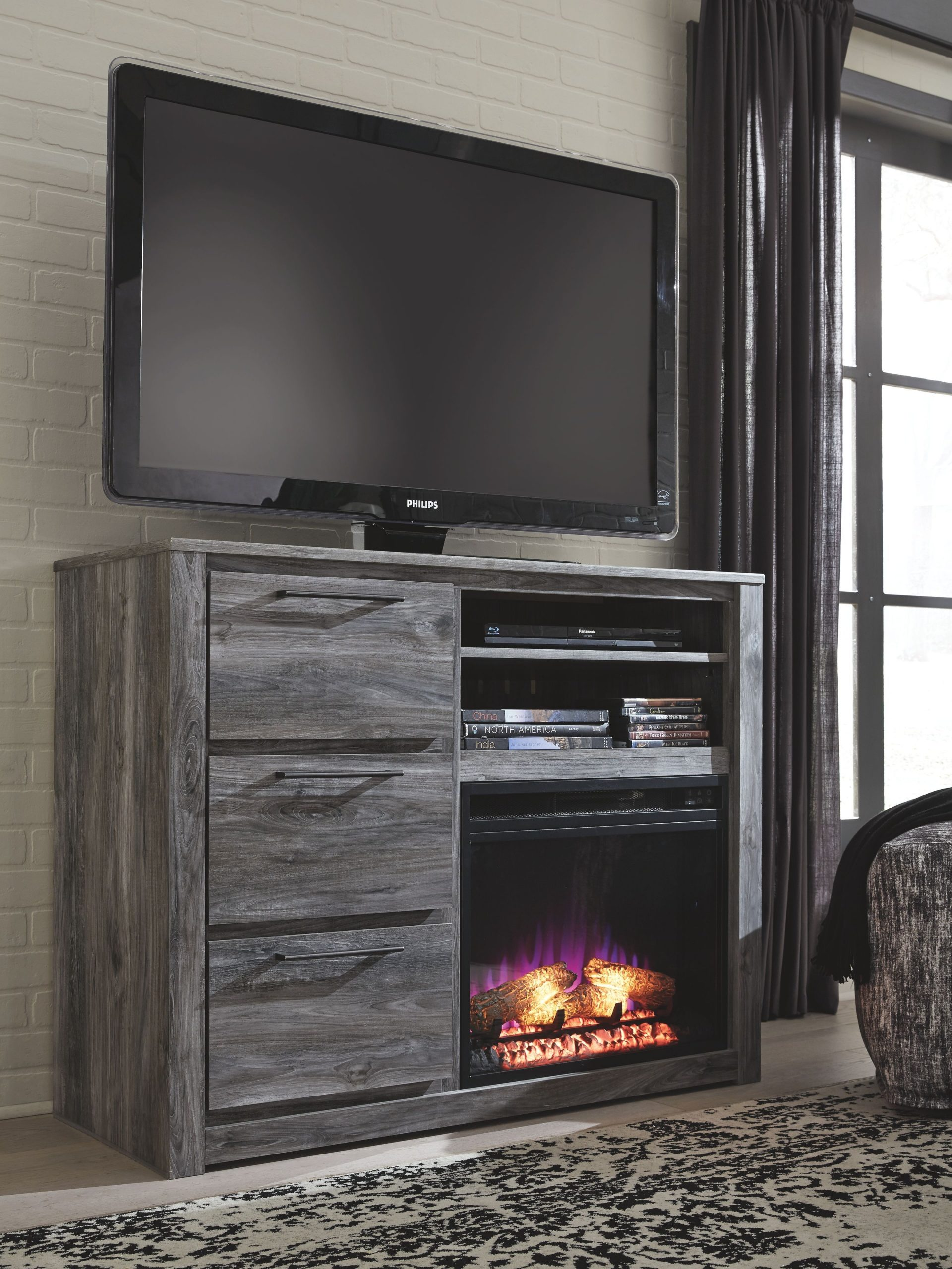 Ashley Fireplace Tv Stand Fresh Baystorm Gray Media Chest with Fireplace Insert