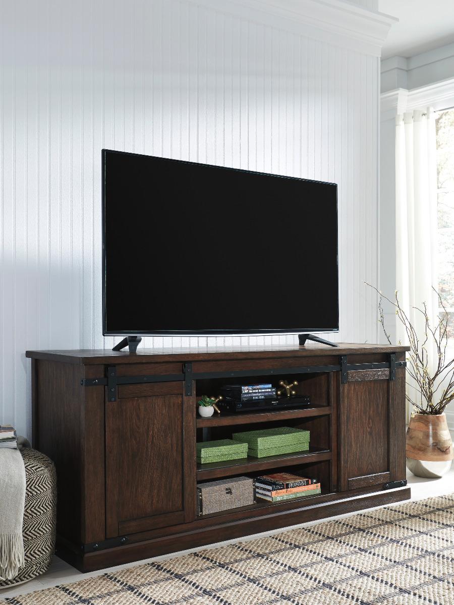 "Cherry Fireplace Tv Stand Best Of Budmore Barn Door Tv Stand 70"" W"