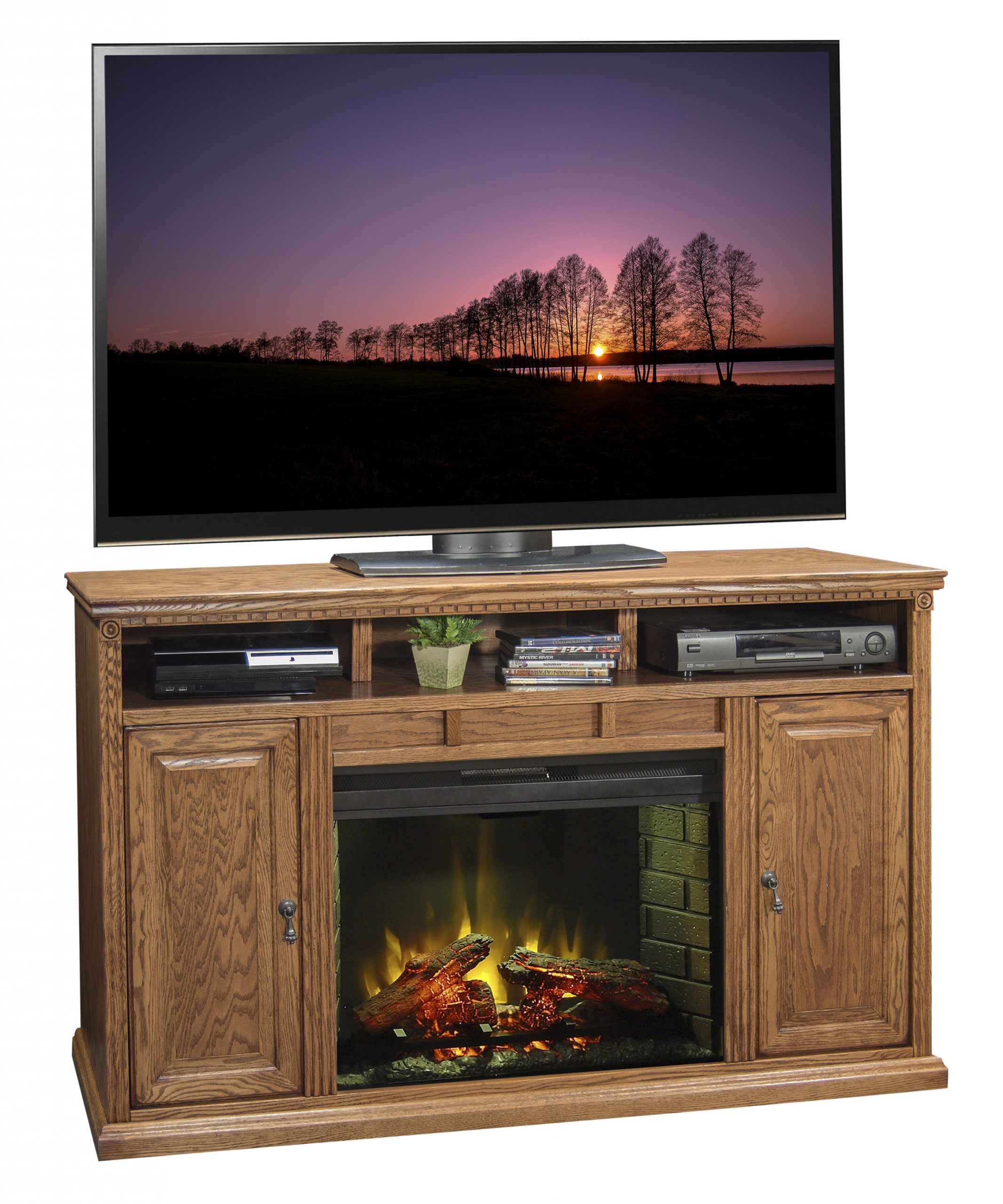 legends furniture scottsdale solid wood tv stand for tvs up to 70 with electric fireplace included lfn1839
