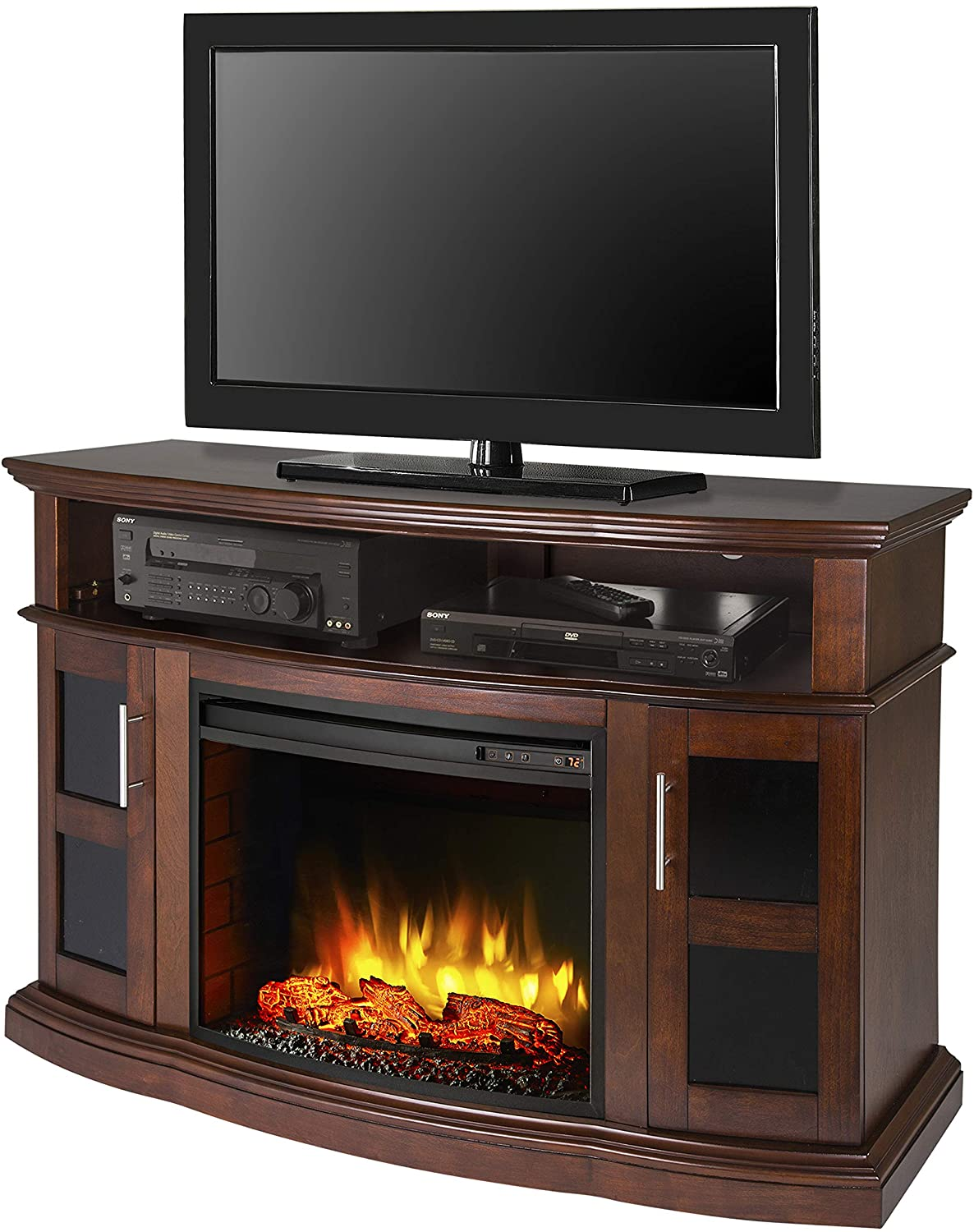 Cherry Fireplace Tv Stand Lovely Pleasant Hearth Rochester Media Electric Fireplace Cherry