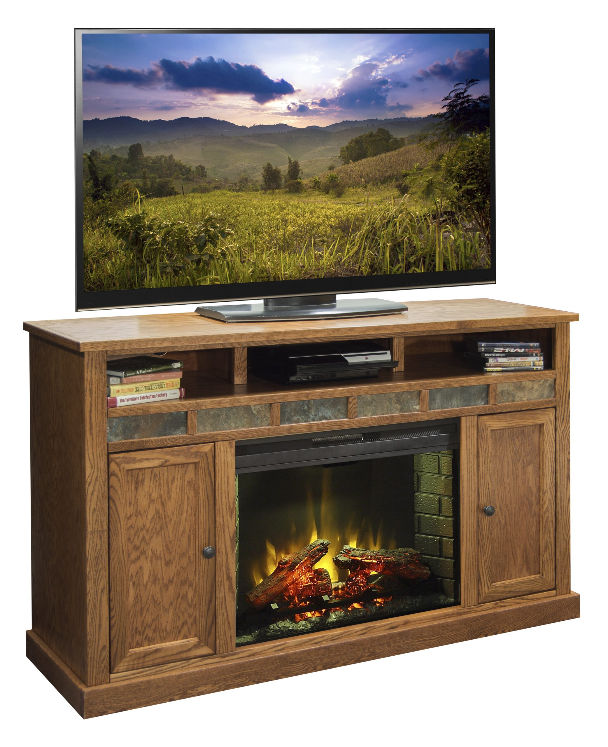 legends furniture oak creek tv stand for tvs up to 70 with electric fireplace included lfn1822
