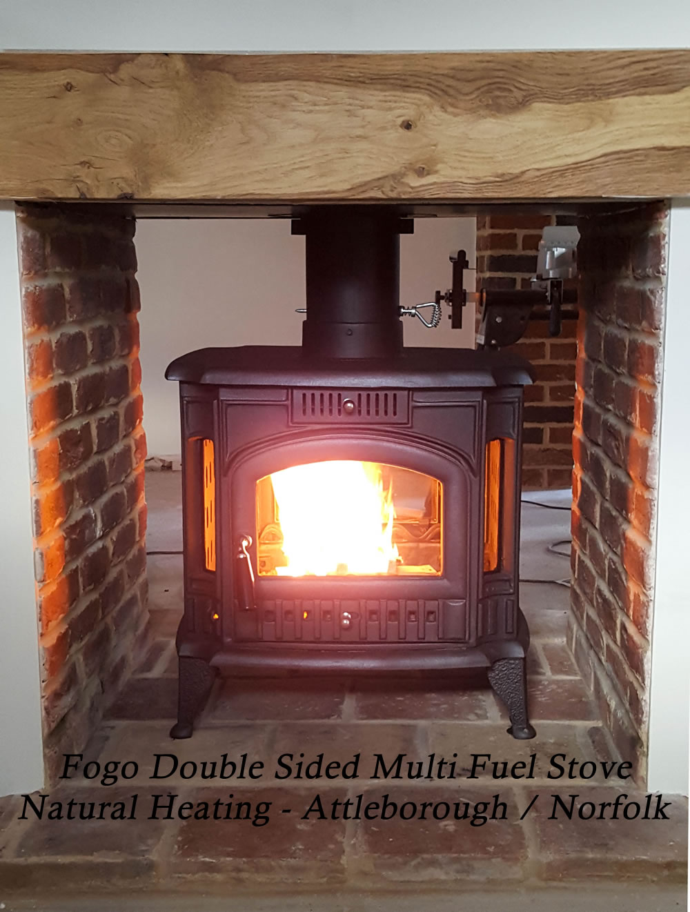 fogo double sided cast iron multi fuel and wood burning stove 14kw max 7 12kw to room