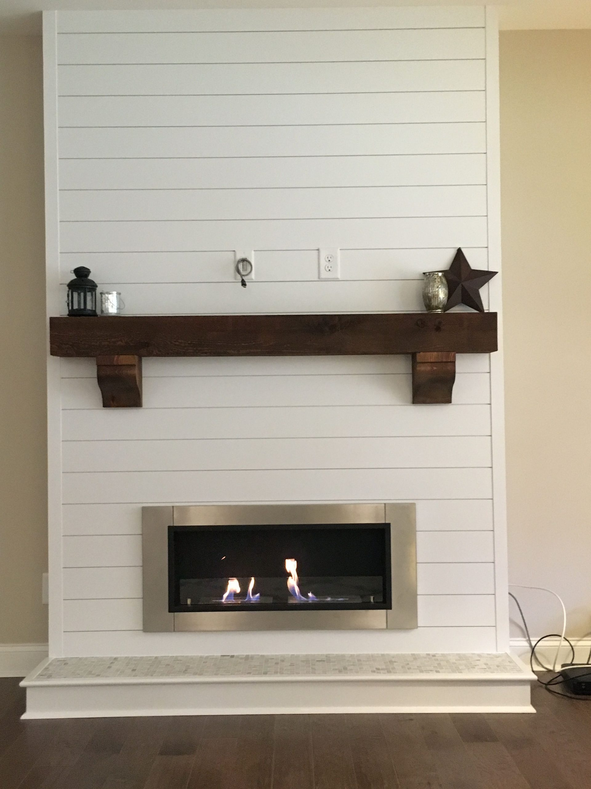 Ethanol Wall Mounted Fireplace Fresh Shiplap Bioethanol Fireplace with Rustic Beam Mantle with