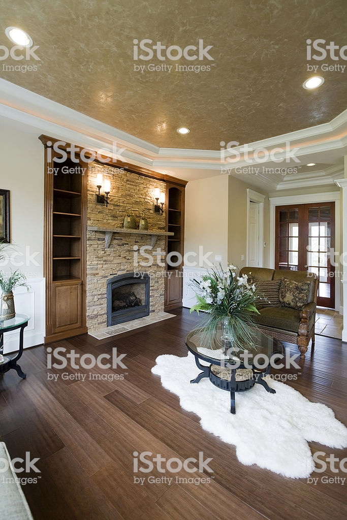 luxury elegant modern living room wood floor stone fireplace gm