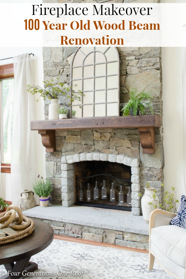 Fireplace Makeover Wood Beam Rustic Mantel