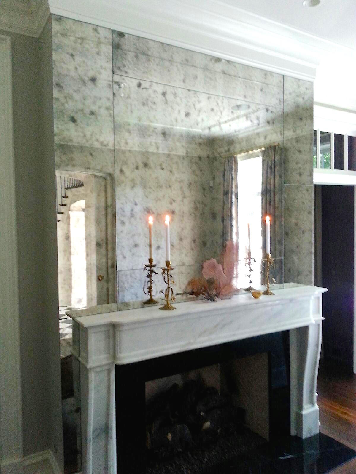 Fireplace Surround Antiqued Mirrors