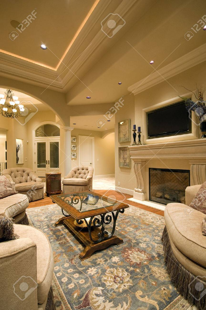 photo living room interior in new luxury home with fireplace rug tray ceiling and elegant features