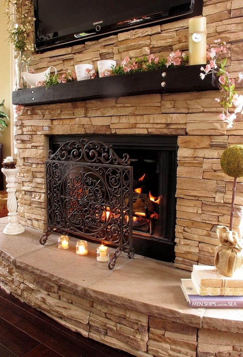 stone fireplace 68