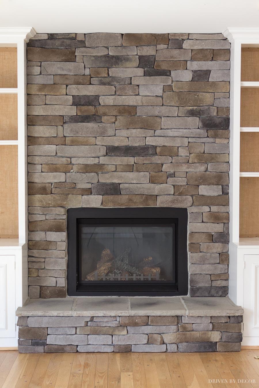 ledgestone stacked stone veneer fireplace